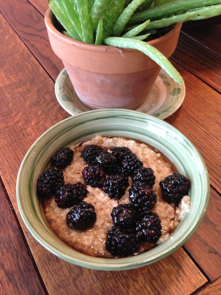 Steel Cut Oatmeal with Blackberries and Agave Nectar