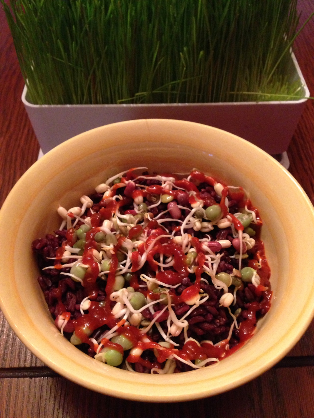 Black Rice, Bean Sprouts, Sriracha