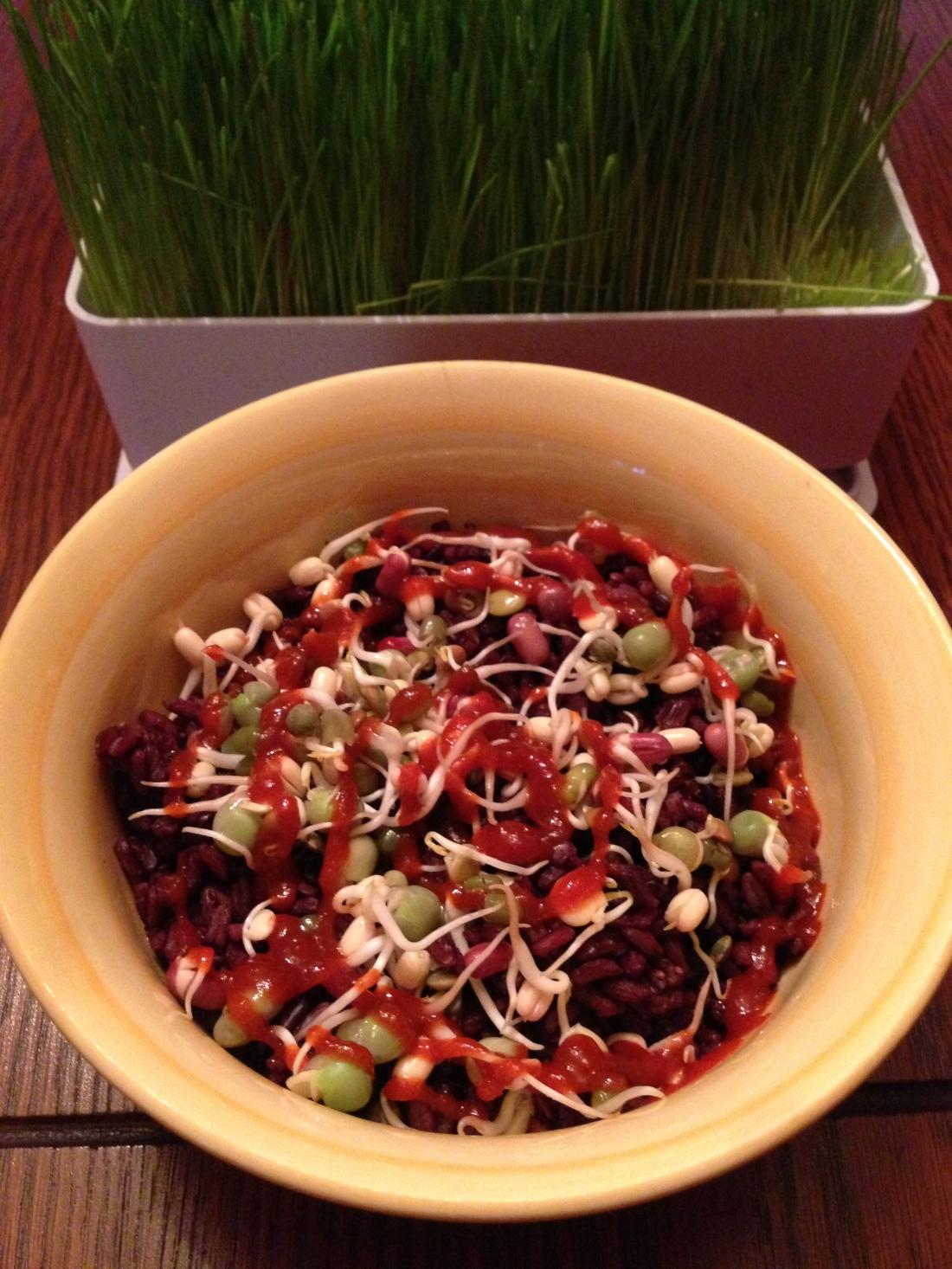 Black Rice, Bean Sprouts, Sriracha