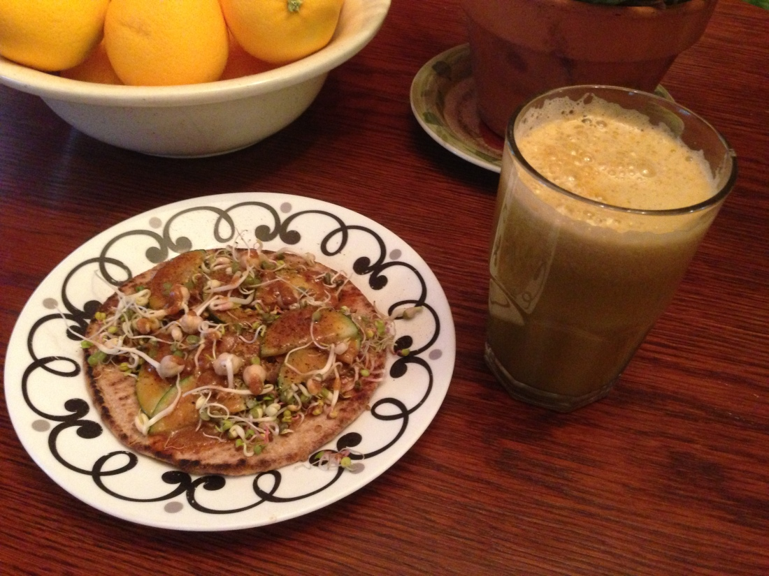Tahini Tamari Sprouts on Flatbread and Cucumber, Carrot, Apple Juice