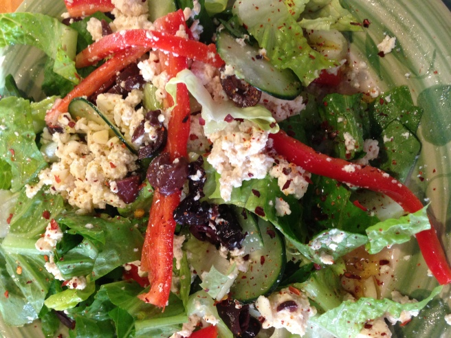 Vegan Salad with Crumbled Tofu and Romaine