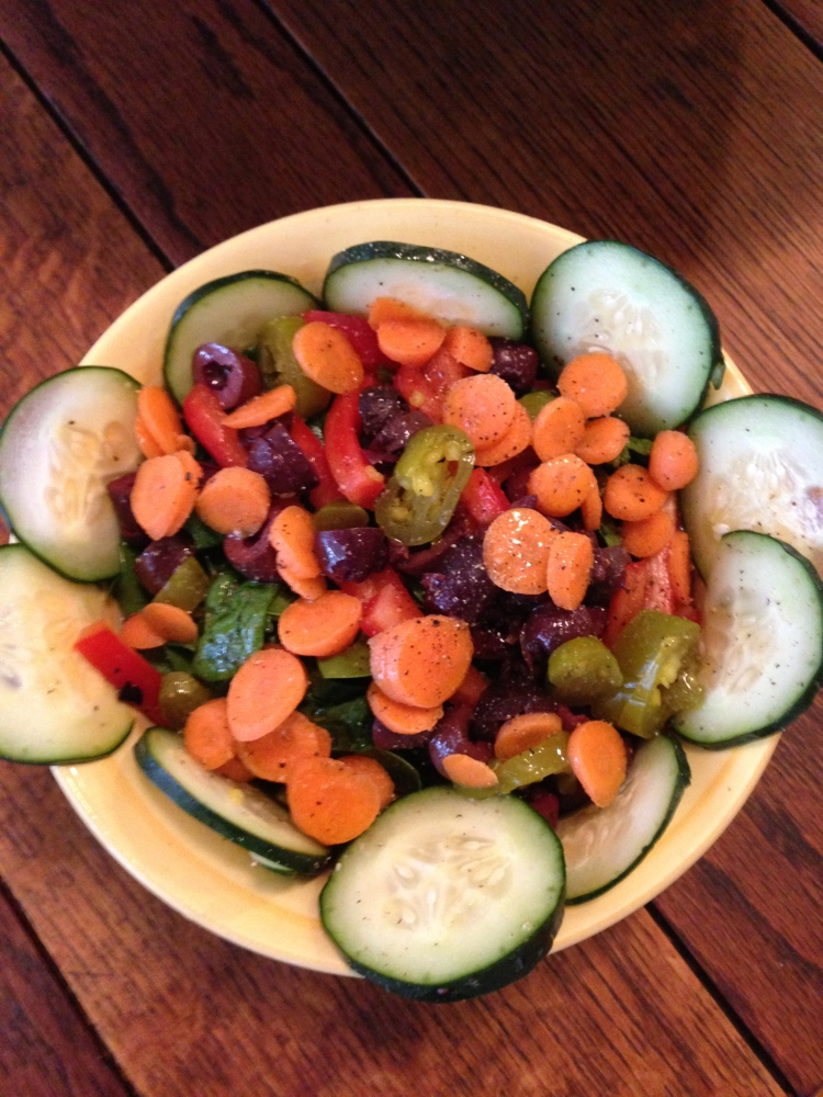 Vegan Salad with Spinach, Kalamata Olives, Carrots, and Pickled Jalapeños
