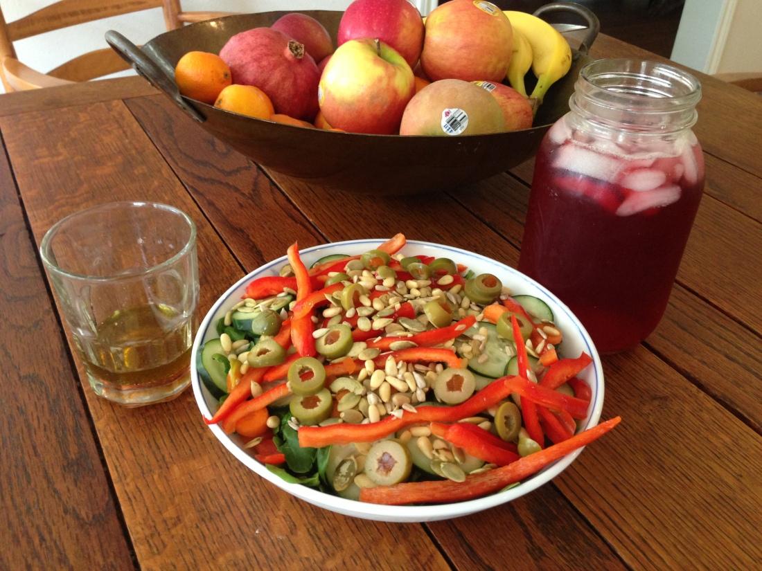 Salad, Avocado Oil Vinaigrette, and Hibiscus Tea