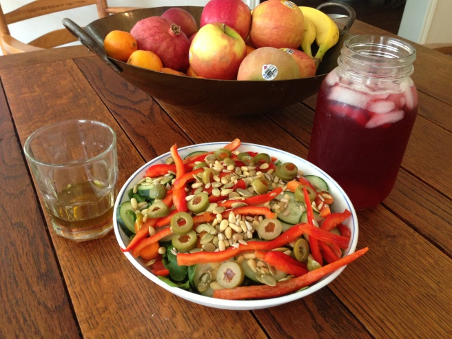 Salad, Avocado Oil Vinaigrette, and Hibiscus Tea