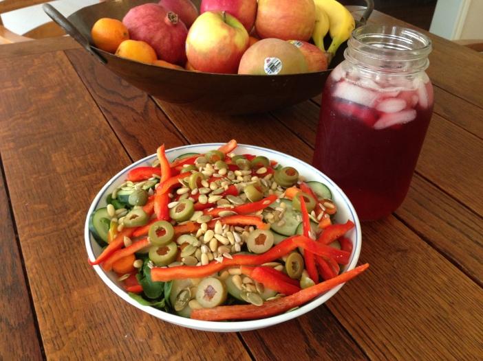 Salad and Hibiscus Tea