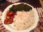Spinach, Coconut Rice, Fried Plantains