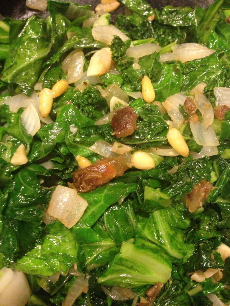 Sautéed Kale and Collard Greens with Pine Nuts and Medjool Dates