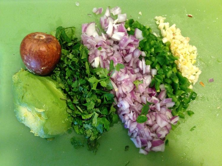 Avocado, Cilantro, Purple Onion, Jalapeño, Garlic