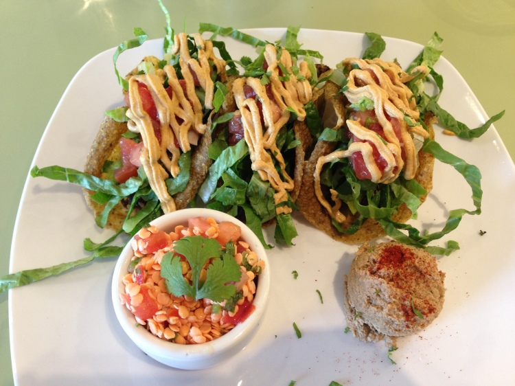 Raw Vegan Taco Plate with Sprouted Lentil Salad