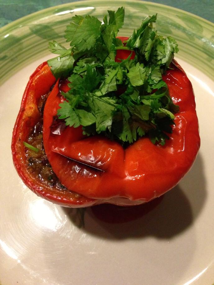 Edamame and Black Bean Stuffed Peppers