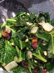 Spinach, Kelp, and Collard Greens with Medjool Dates and Pine Nuts