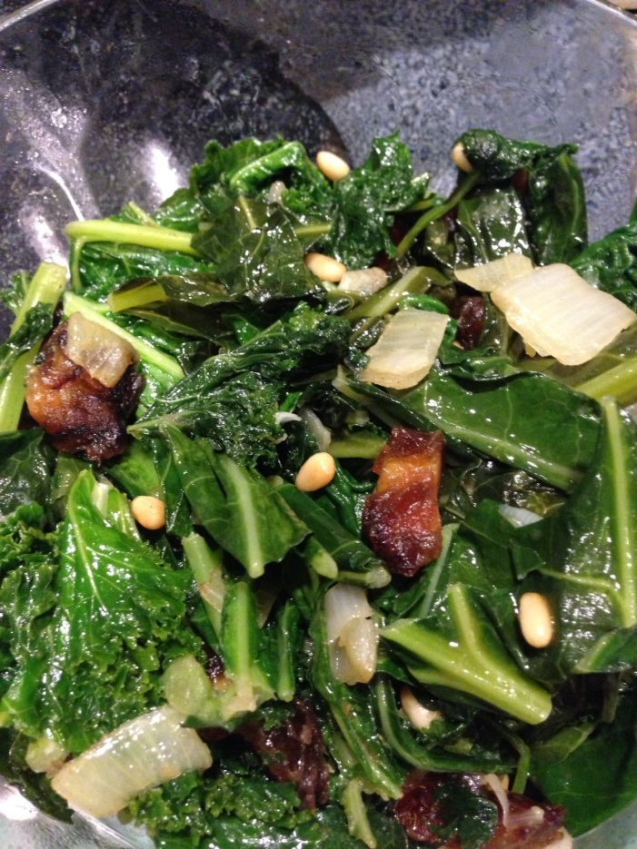 Spinach, Kale, and Collard Greens with Medjool Dates and Pine Nuts