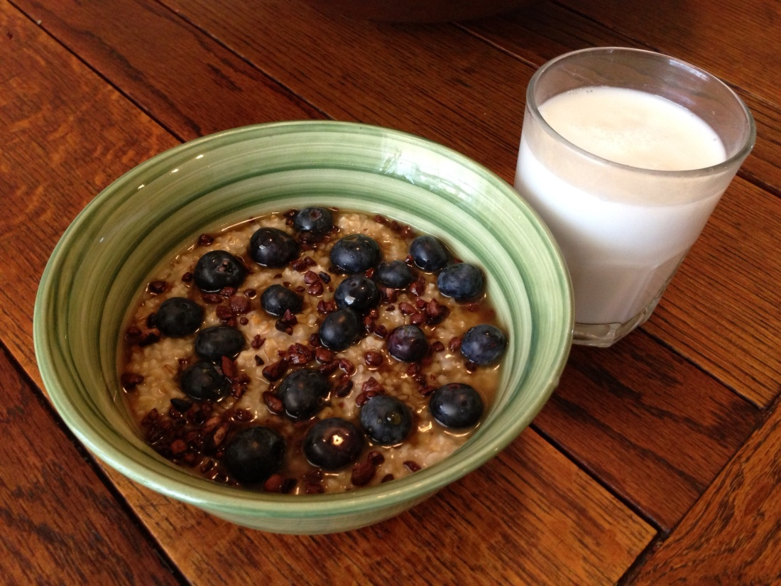 Maple, Blueberry, and Cocoa Nib Oatmeal with Coconut Milk Beverage