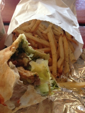 Chimichurri Seitain Wrap and Rosemary Baked Fries