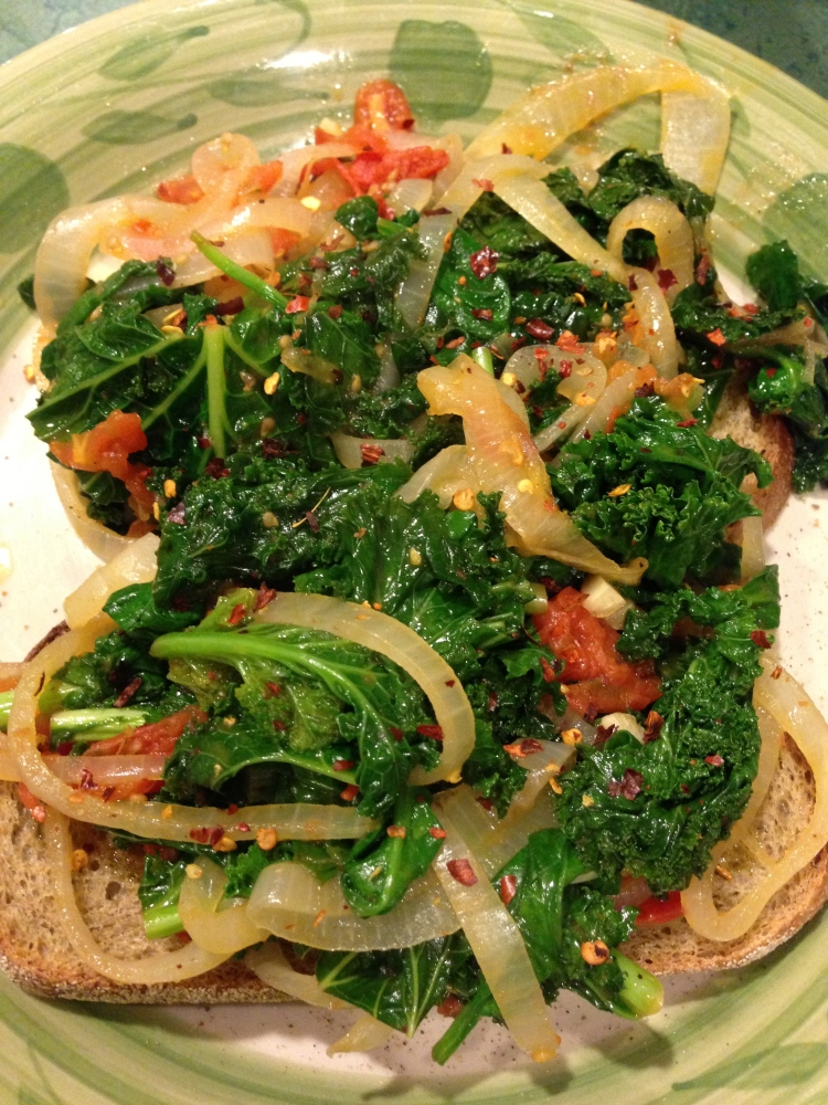 Tomato Braised Spinach and Kale Over Toasted Rye