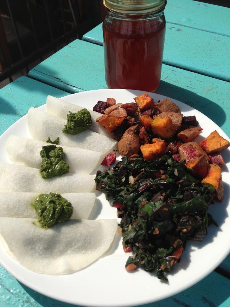 Pesto Rawvioli, Garlic Greens, Roasted Vegetables, Cherry Melon Kombucha