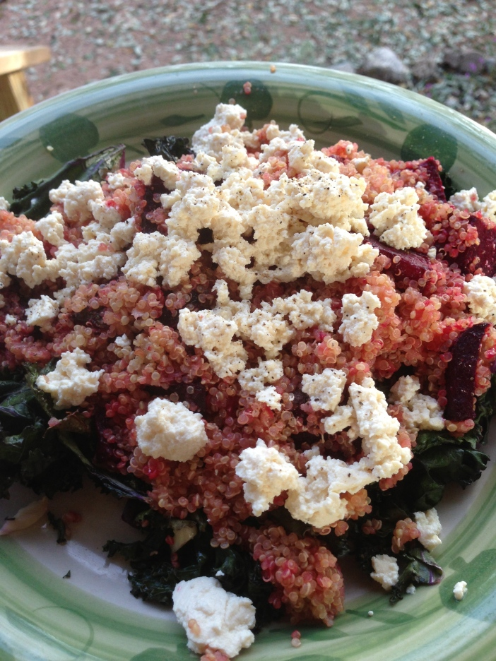 Quinoa Salad with Crumbled Tofu and Roasted Beets and Kale