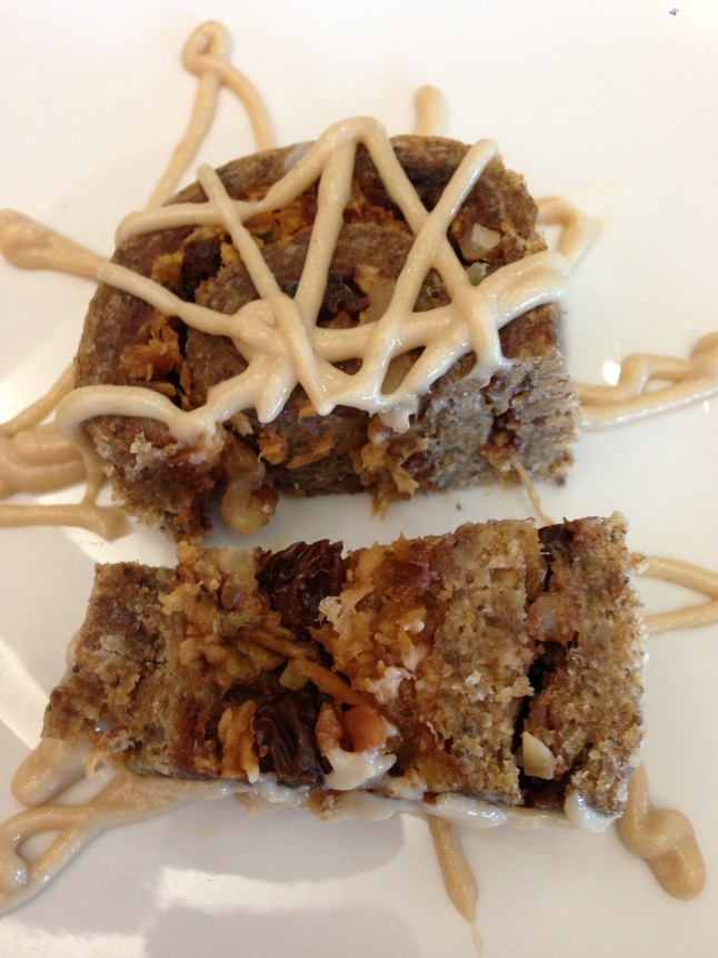 Raw Vegan Cinnamon Roll with Cashew Frosting