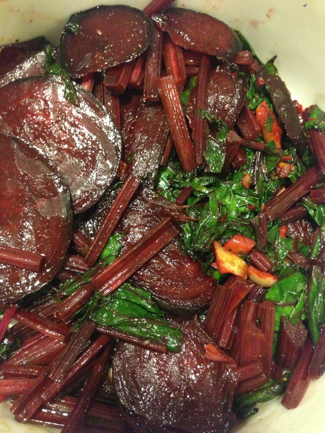 Sautéed Beet Tubers, Stems, and Leaves