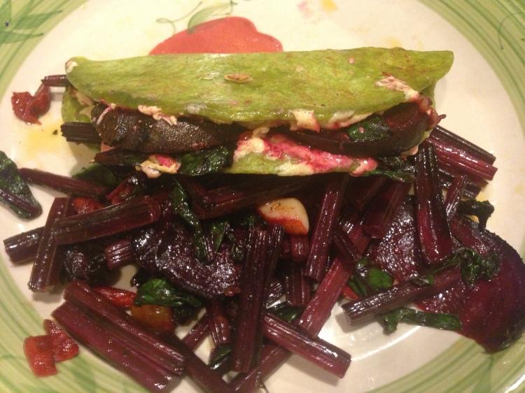 Beet Quesadilla with Sautéed Beets