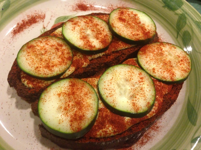 Zucchini Hummus and Cucumber on Russian Black Bread