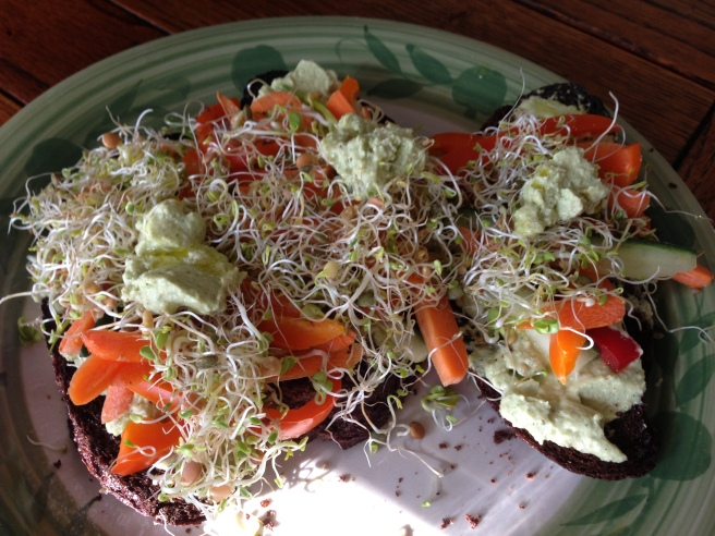 Sprouts, Vegetables, and Zucchini Hummus on Toasted Russian Black Bread