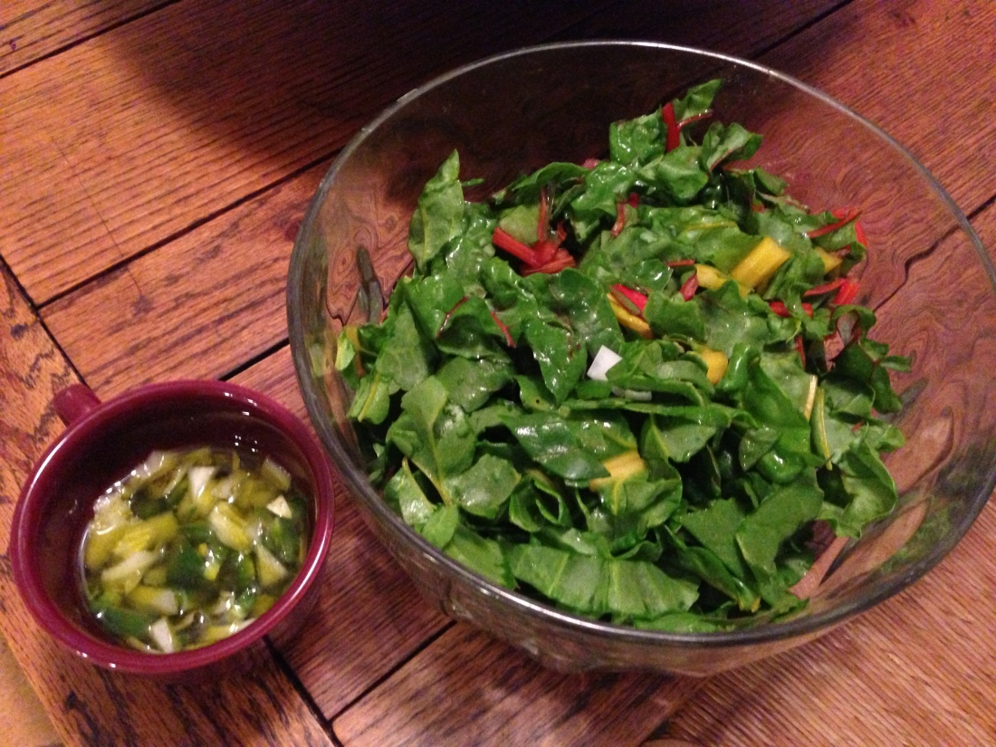 Swiss Chard and Jalapeño, Onion, and Avocado Oil Vinaigrette