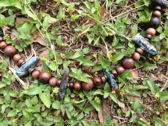 Dark Blue Kyanite, Tiger Kamagong, and Copper Necklace