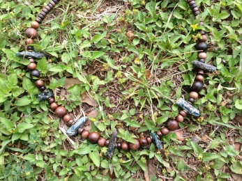 Dark Blue Kyanite, Tiger Kamagong, and Copper Necklace