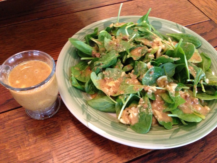 Spinach with Citrus, Miso, Sesame, Garlic Dressing