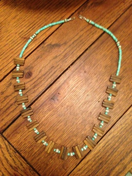 Turquoise, Silver, and Wood Necklace