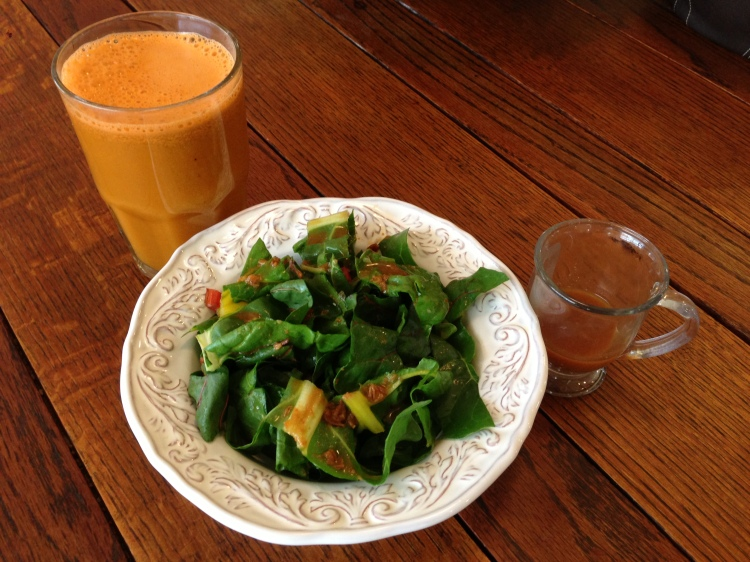 Swiss Chard with Miso Citrus Dressing and Carrot, Apple, Celery Juice