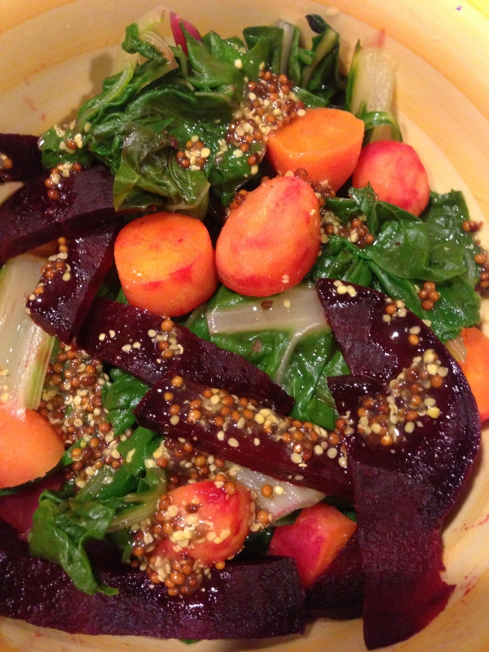 Steamed Swiss Chard, Carrots, and Beets with Dijon