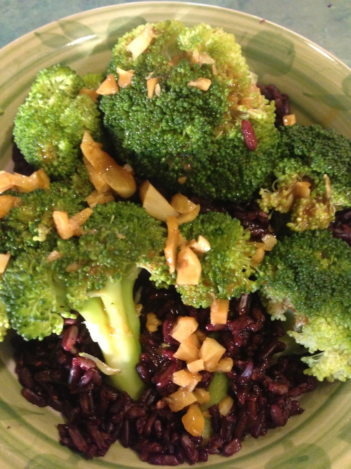 Black Rice and Steamed Broccoli with Coconut Curry Sauce