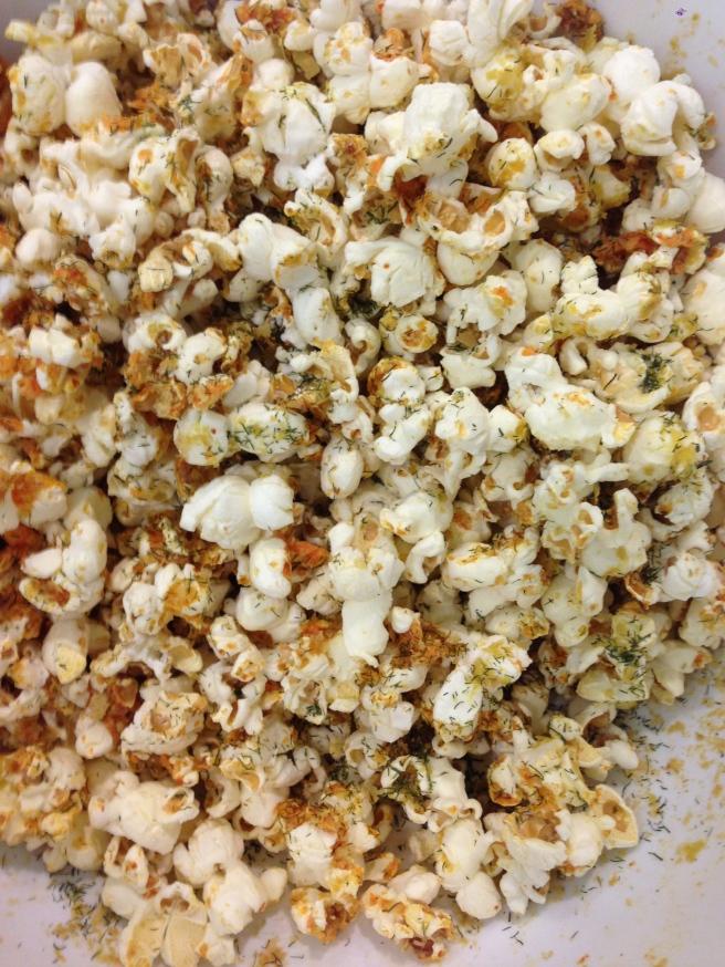 Sriracha, Nooch, Dill Popcorn