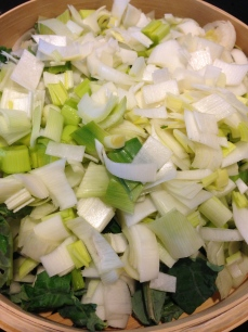 Steaming Leeks and Kale