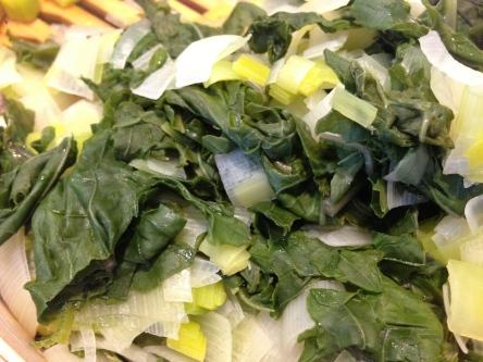 Steamed Leeks and Kale