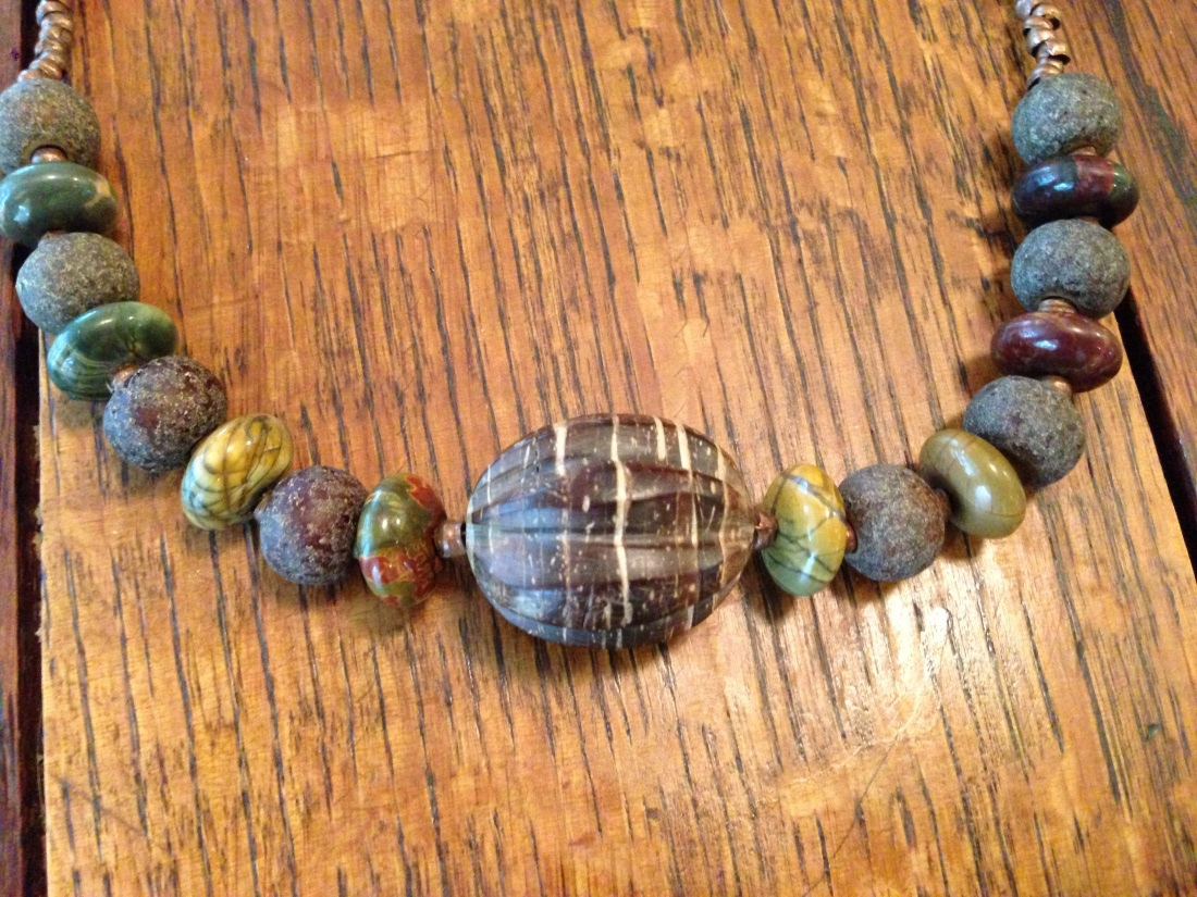 Picasso Jasper, Copper, and Wood Bracelet