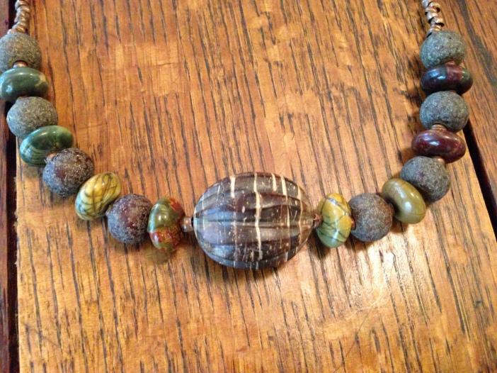 Picasso Jasper, Copper, and Wood Bracelet