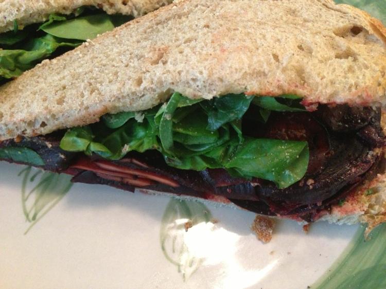 Beet, Mushroom, and Spinach on Rye