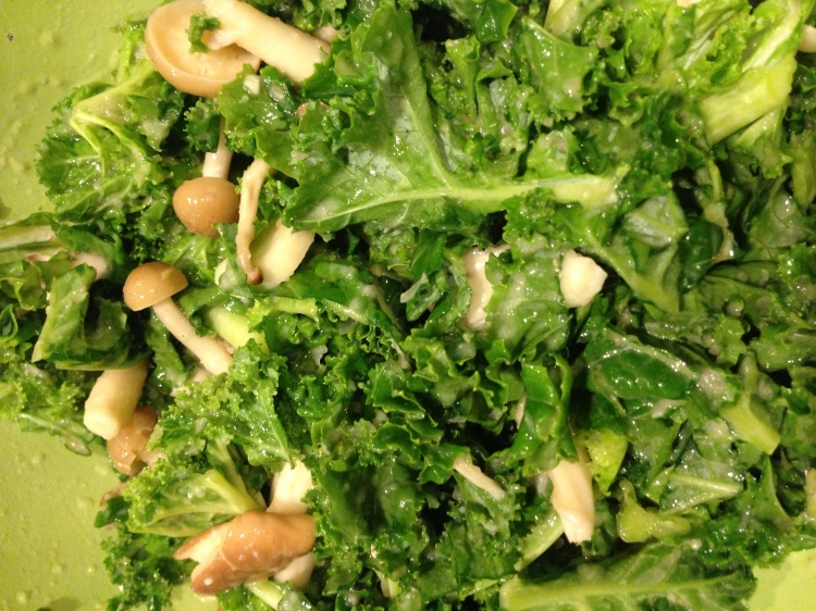 Kale and Mushrooms with Lemon Miso