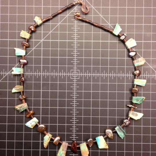 Blue Peruvian Opal, Chocolate Australian Boulder Opal, and Tiger Kamagong Necklace