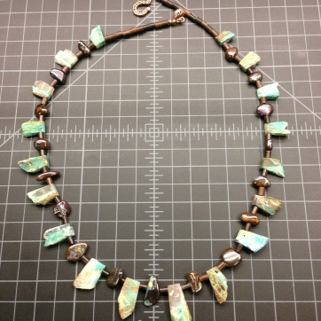 Blue Peruvian Opal, Chocolate Australian Boulder Opal, and Tiger Kamagong Necklace