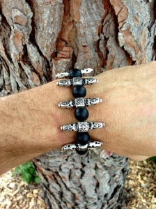 Frost Ink Black Sea Glass and Vintage Silver Chanel Bracelet