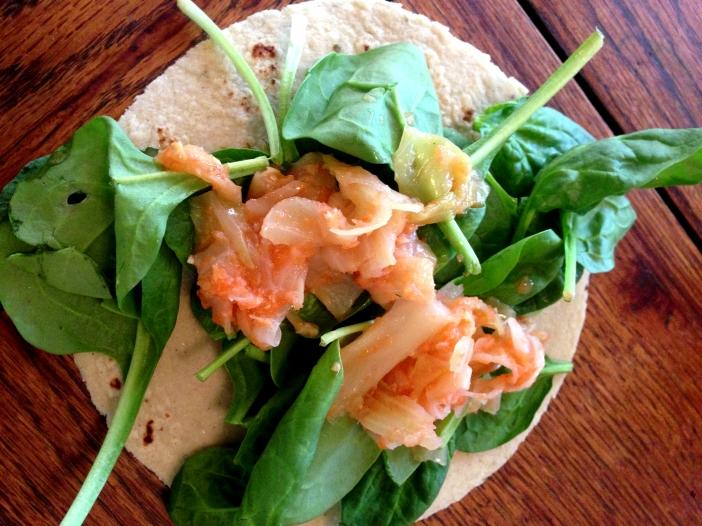 Spinach and Kimchi Tortilla Wrap