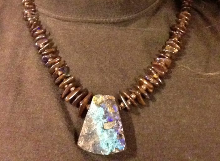 Chocolate Australian Boulder Opal and Copper Necklace