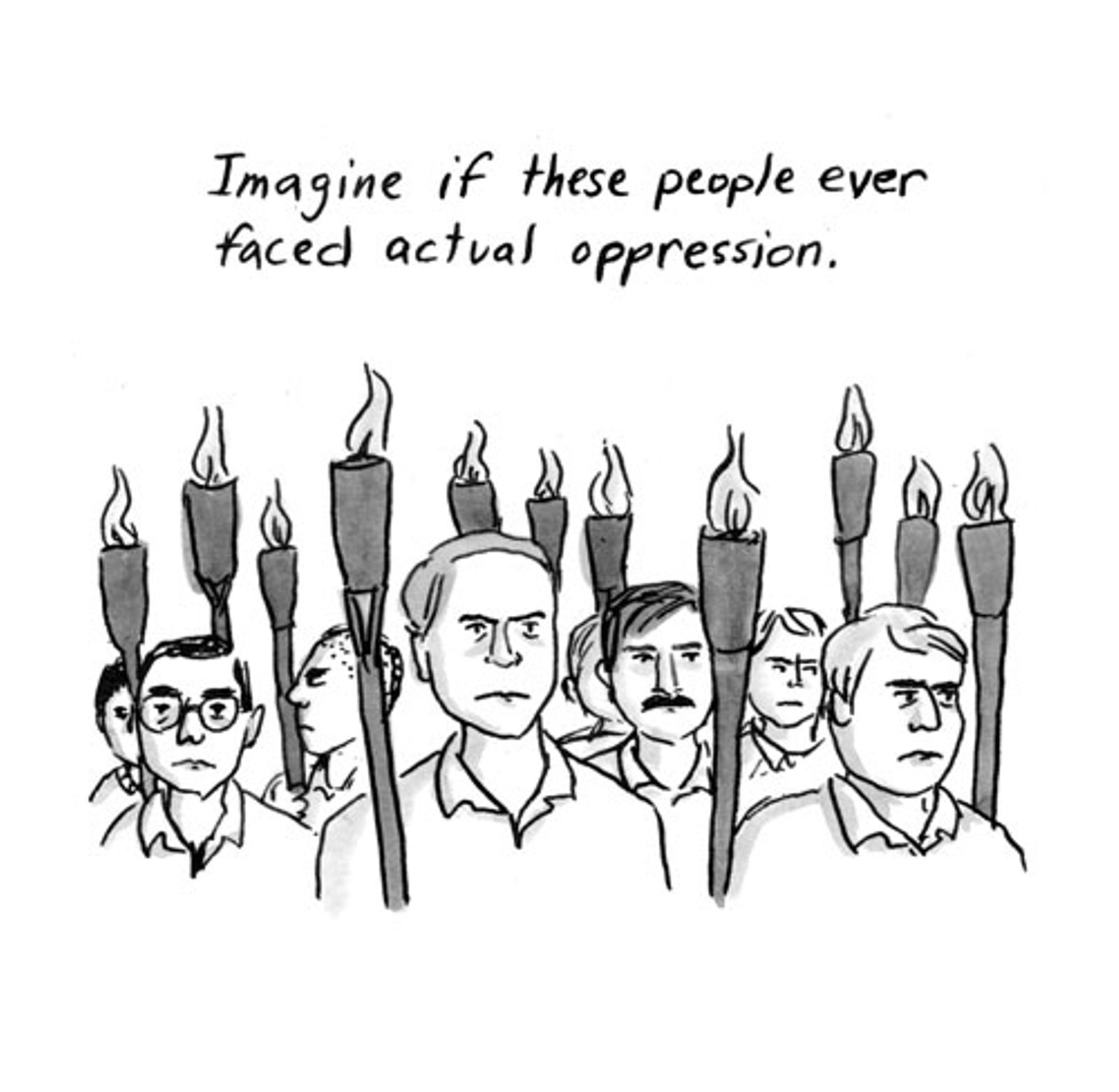 White people holding torches below the caption