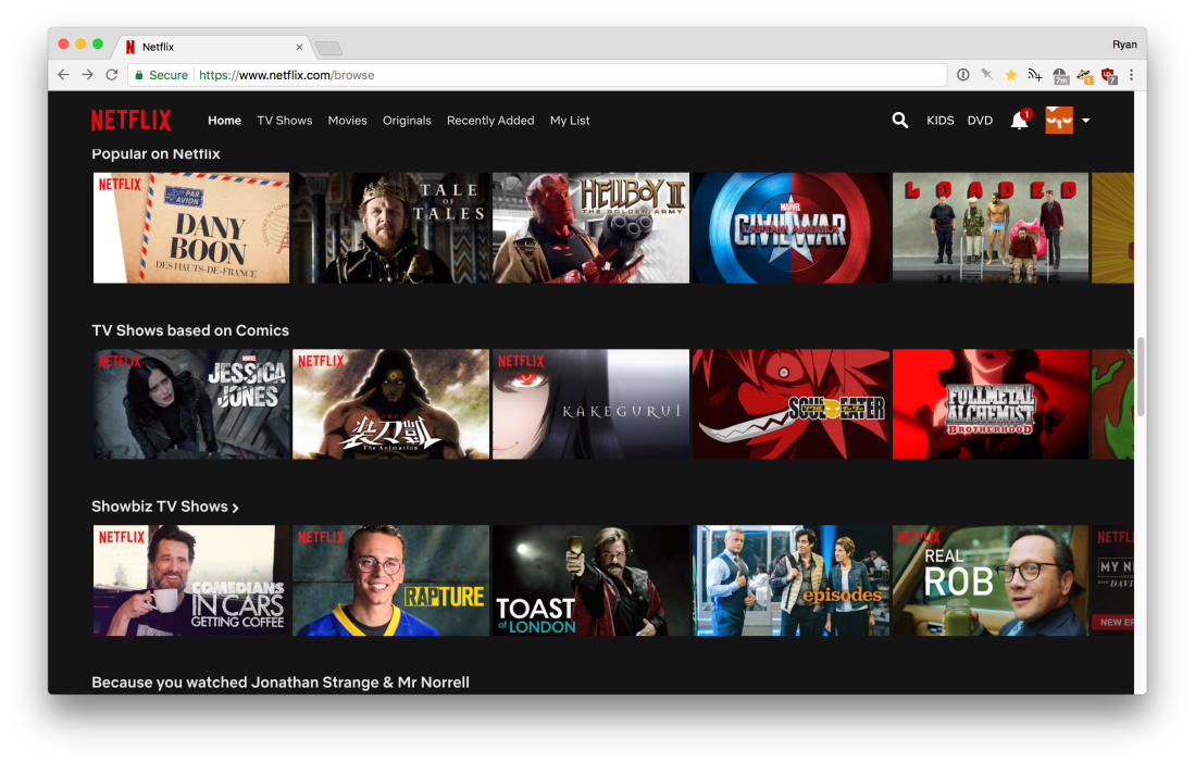 A screenshot of Netflix with the video browsing grid scrolled down.