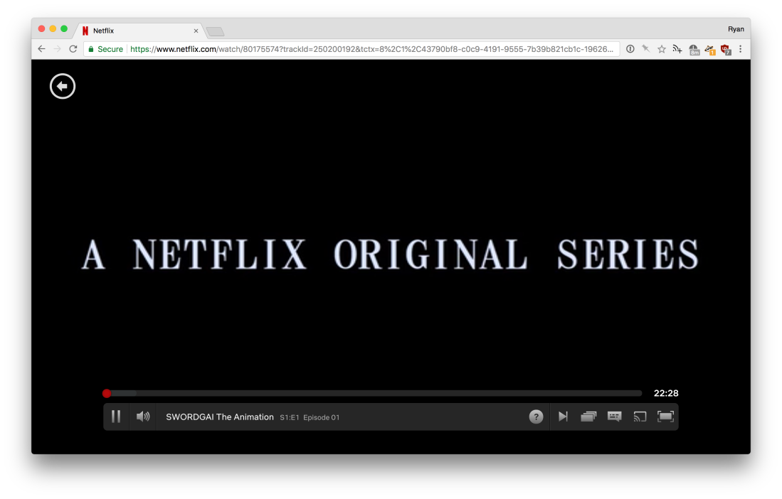 A screenshot of the Netflix video player with a back arrow button in the top left.