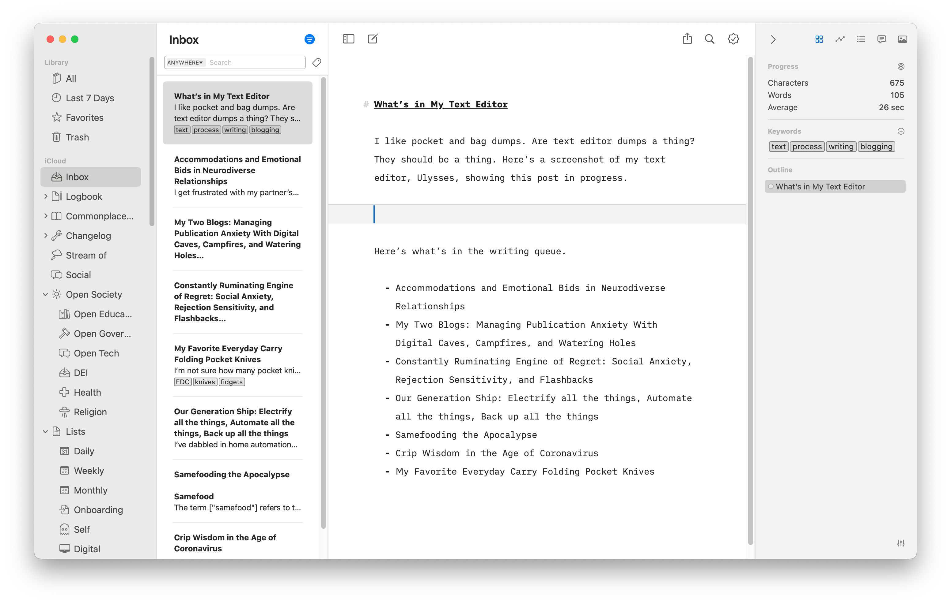 Screenshot of Ulysses showing my library, sheets in my inbox, the current sheet, and the dashboard.